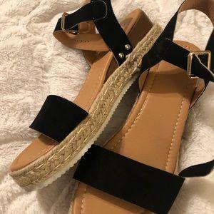 Espadrille FlatForm Sandal Black & Tan